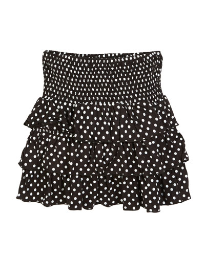 Smocked Ruffle Polka-Dot Skirt  Size S-XL