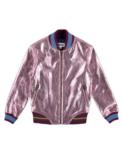 Hollis Metallic Cracked Leather Bomber Jacket, Size 4-14