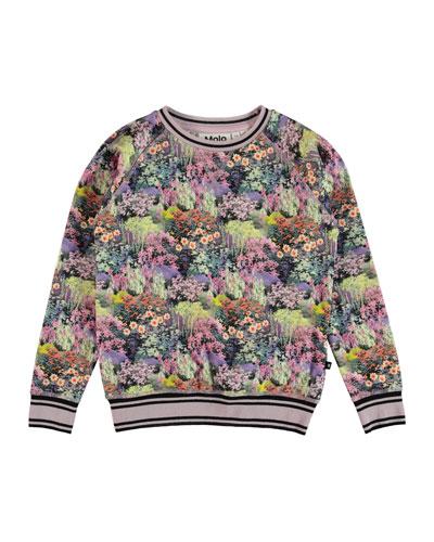 Raewyn Floral Sweatshirt w/ Sports Ribbing, Size 4-12