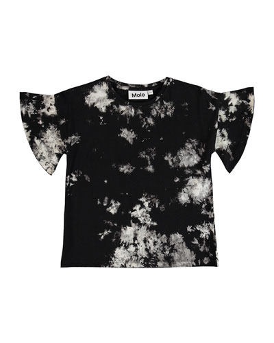 Rakin Tie Dye Flutter-Sleeves Tee, Size 8-16