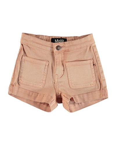 Aleen Pink Denim Shorts, Size 8-16
