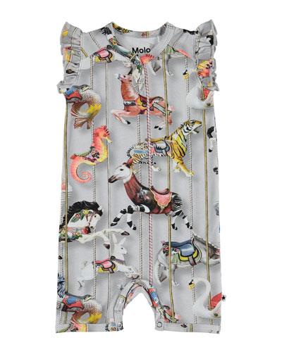 Faris Carousel-Print Ruffle-Sleeve Shortall  Size 3-12 Months