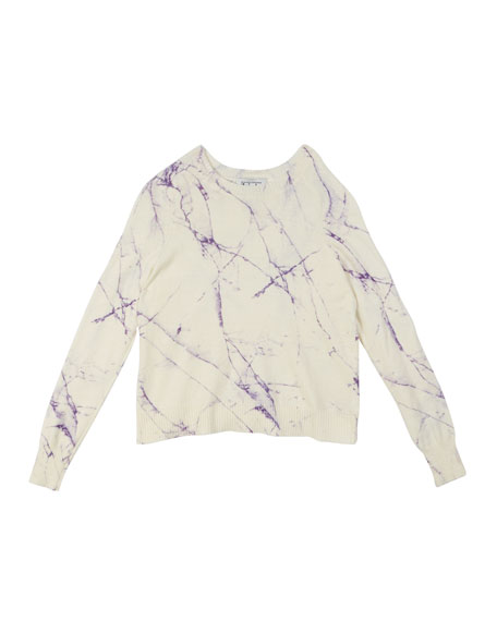 Autumn Cashmere Marble-Print Raglan-Sleeve Top, Size 8-14