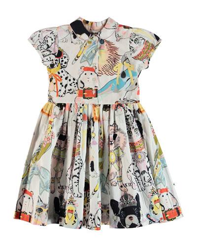 Cybil Woven Animal Drawing Print Dress, Size 2T-12