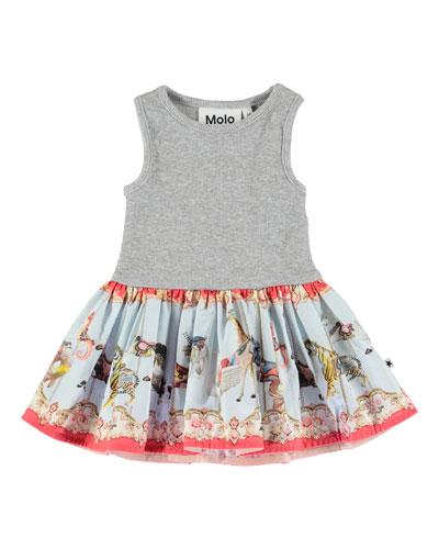 Cordelia Ribbed Dress w/ Carousel-Print Skirt, Size 3-24 Months