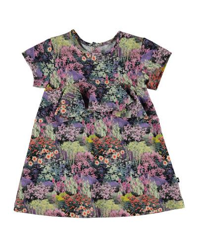 Cloud Short-Sleeve Floral Dress, Size 6-24 Months