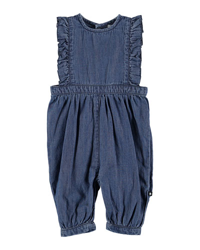 Fabia Chambray Overalls w/ Frill Detail  Size 6-24 Months
