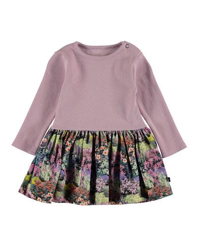Carel Ribbed & Floral-Print Dress, Size 6-24 Months