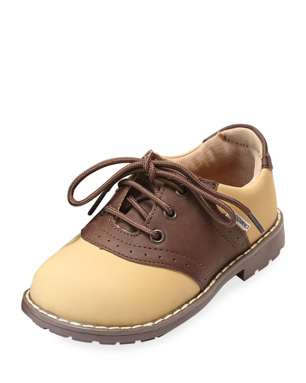 L Amour Shoes Mason Two Tone Nubuck Leather Saddle Oxford Shoes