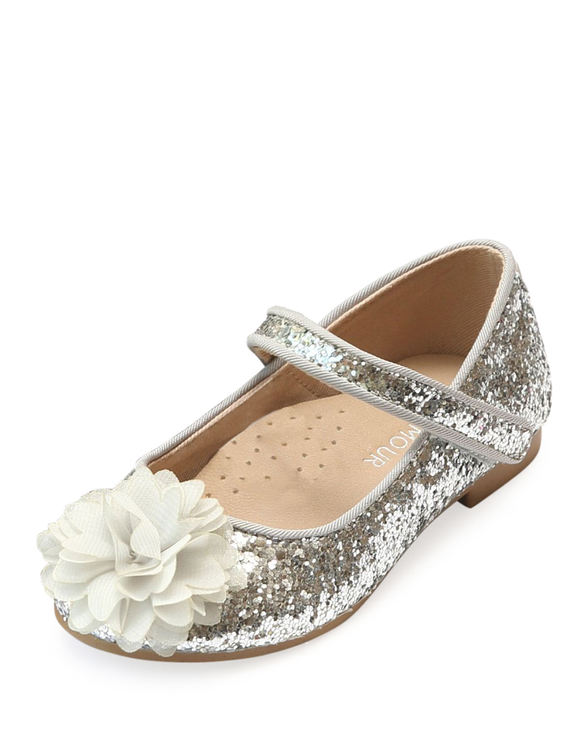 a73a98514d2e L Amour Shoes Alice Sparkly Glitter Flower Flats