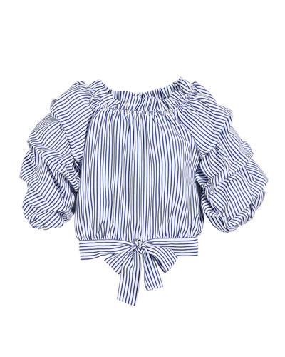 Joyce Striped Gathered Top, Size 7-14