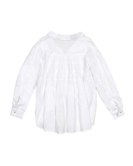 Habitual Isla Tie-Front Collared Shirt w/ Ruffle Back, Size 7-14