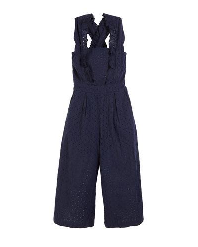 Mila Crisscross Eyelet Jumpsuit, Size 7-14