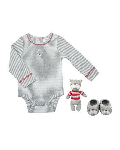 Mini Crochet Bulldog 3-Piece Layette Set  Size 0-12 Months