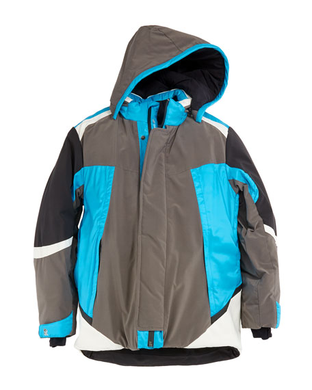 Colorblock Ski Jacket w/ Removable Hood, Size 10-14