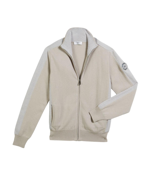 fa17731585 Contrast-Trim Zip-Up Blouson Sweater, Size 10-14