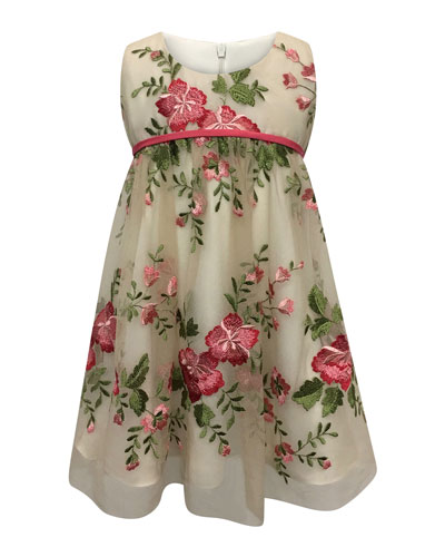 Floral Embroidery Lace Dress  Size 7-14