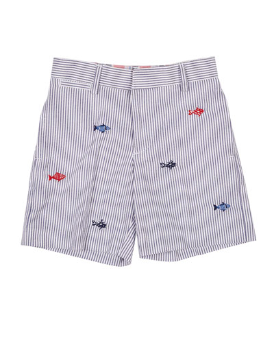 Striped Seersucker Short with Fish Embroidery  Size 2-4T