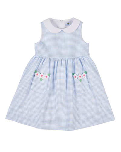 Collared Check Pique Dress with Flower  Size 2-6X