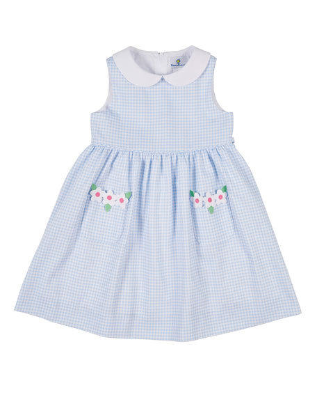 Florence Eiseman Collared Check Pique Dress with Flower, Size 2-6X