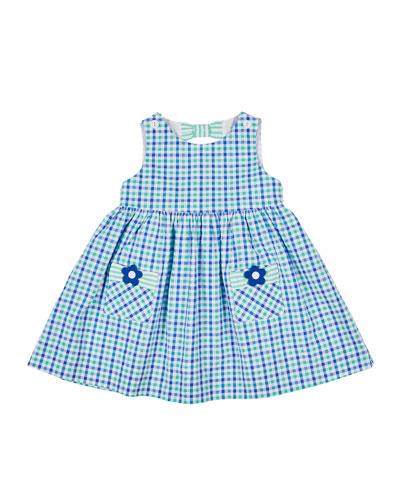 Check Seersucker Dress with Flower Pockets  Size 2-4T