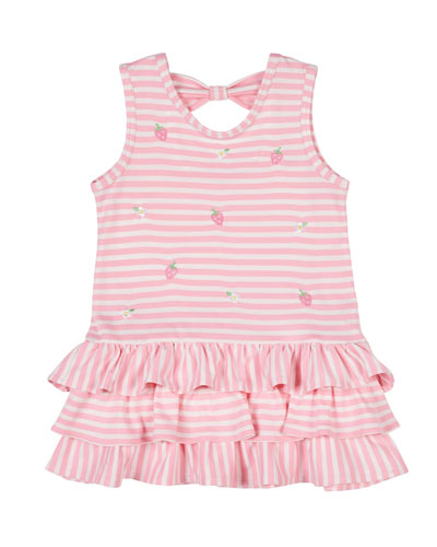 Stripe Knit Dress with Embroidered Strawberries  Size 2-4T