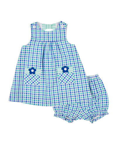 Check Seersucker Dress with Flower Pockets & Bloomers  Size 3-24 Months