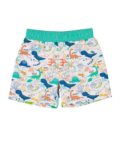 Dinosaur-Print Swim Trunks  Size 6-24 months