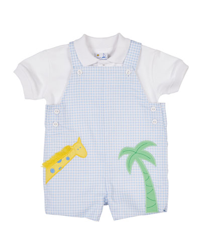 Check Pique Shortall with Giraffe & Polo  Size 3-18 Months