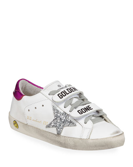Golden Goose Old School Leather Grip-Strap Sneakers, Toddler/Kids