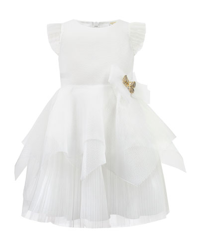 Techno Dress w/ Handkerchief Peplum Skirt  Size 4-8