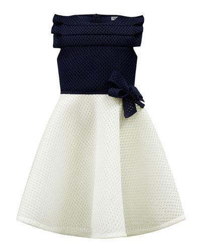 Two-Tone Mesh Scuba Dress  Size 4-8
