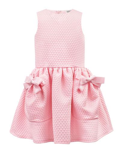 Piquet Knit Sleeveless Dress w/ Bow Pockets  Size 4-8