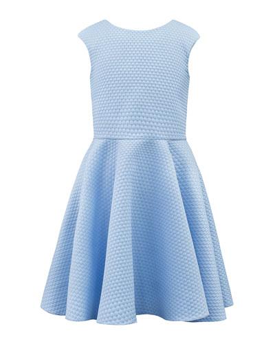 Textured Pique Knit Dress w/ Elastic Back Straps  8-16