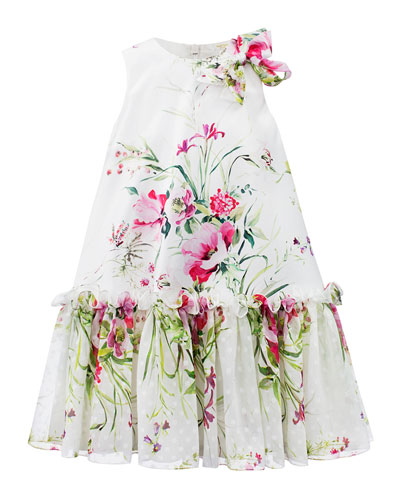 Floral Satin & Chiffon Dress  Size 4-8
