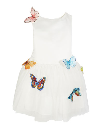 Nelly Sleeveless Tulle Dress with Butterflies  Size 5-8