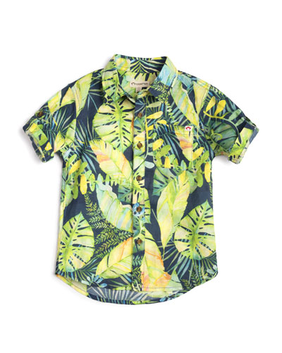 Botanical Leaf-Print Collared Shirt  Size 2-14