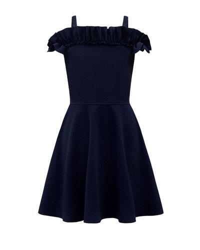 Knit Tonal Herringbone Ruffle-Trim Dress  Size 8-16
