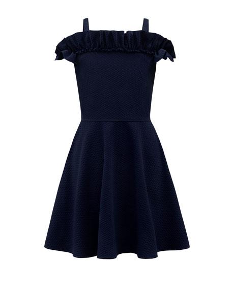 David Charles Knit Tonal Herringbone Ruffle-Trim Dress, Size 8-16