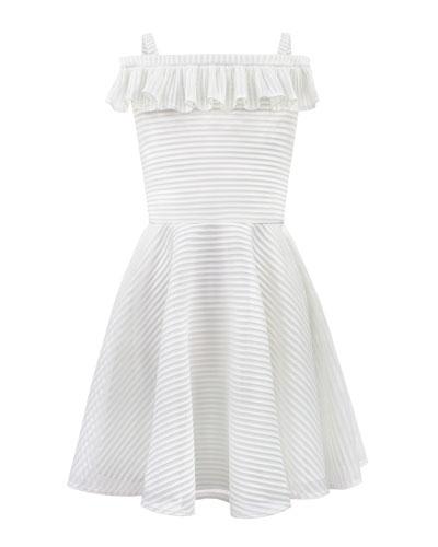 Stripe Techno Off-the-Shoulder Dress  Size 8-16