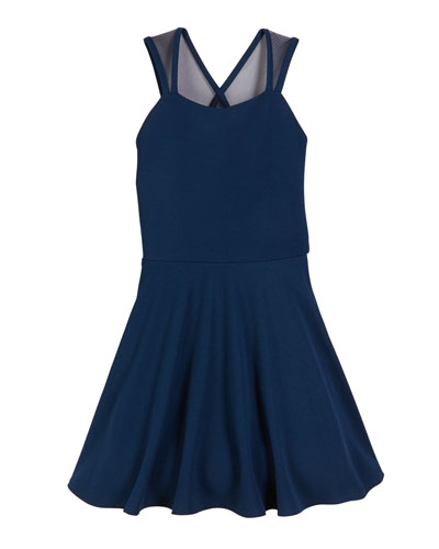 The Jackie Mesh-Trim Flare Dress  Size S-XL