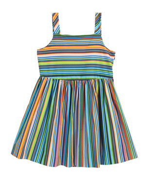 Milly Minis Emaline Striped Dress w/ Bows, Size 4-6