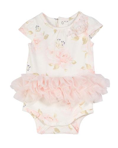 Floral-Print Bodysuit w/ Attached Tutu, Size 3-9 Months