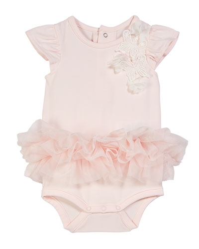 Butterfly Applique Bodysuit w/ Attached Tutu, Size 3-9 Months