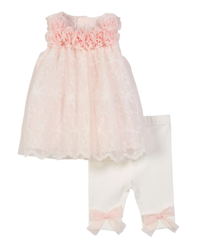 Lace & Rosette Top w/ Matching Leggings, Size 3-9 Months