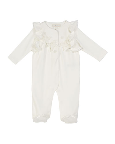 Ruffle-Trim Footed Coverall w/ Butterfly Appliques  Size 3-9 Months