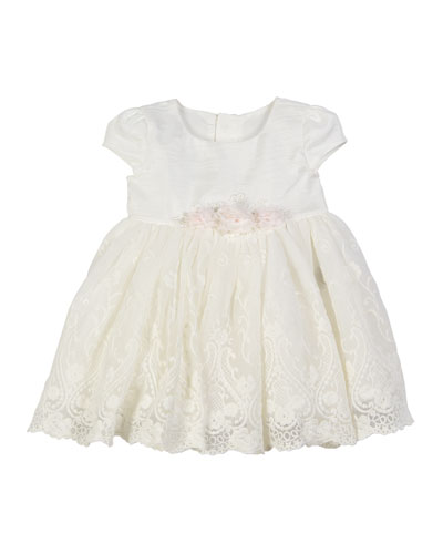 Embroidered Lace Overlay Dress, Size 3-24 Months