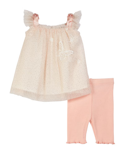 Glittered Dot Tulle Top w/ Ribbed Leggings, Size 3-24 Months