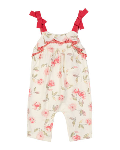 Rose-Print Bow Strap Romper, Size 3-24 Months