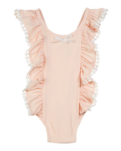Ruffle & Pompom One-Piece Swimsuit, Size 3-24 Months